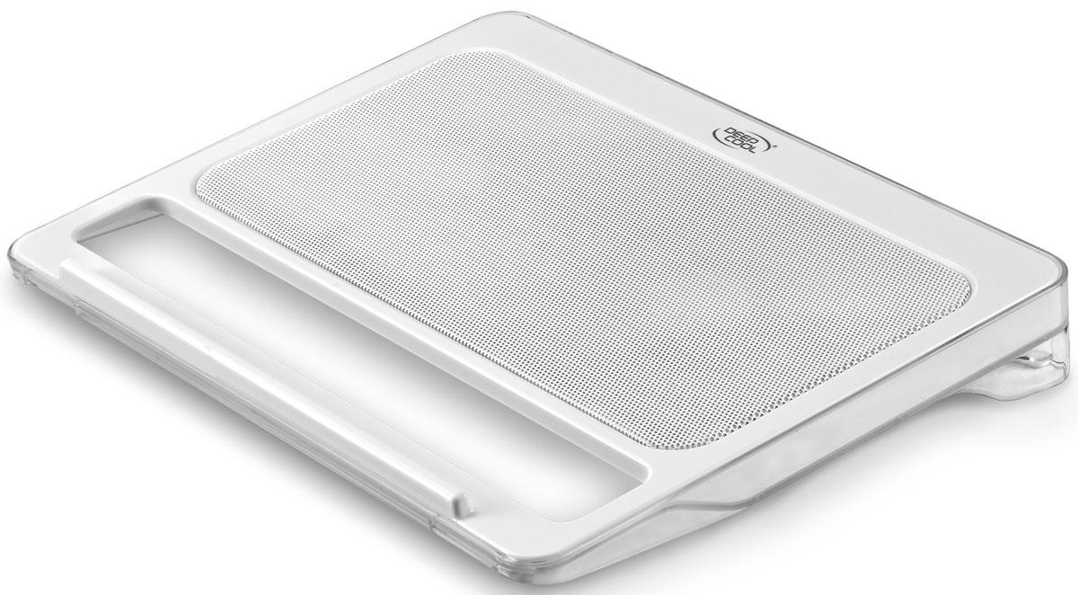 Подставка для ноутбука Deepcool N2200, WhiteN2200Двойные 140-мм вентиляторы создают оптимальный воздушный поток при низком уровне шума. Крупные ячейки металлической сетки эффективно выводят тепло. Уникальный антискользящий дизайн обеспечит безопасность ноутбука.