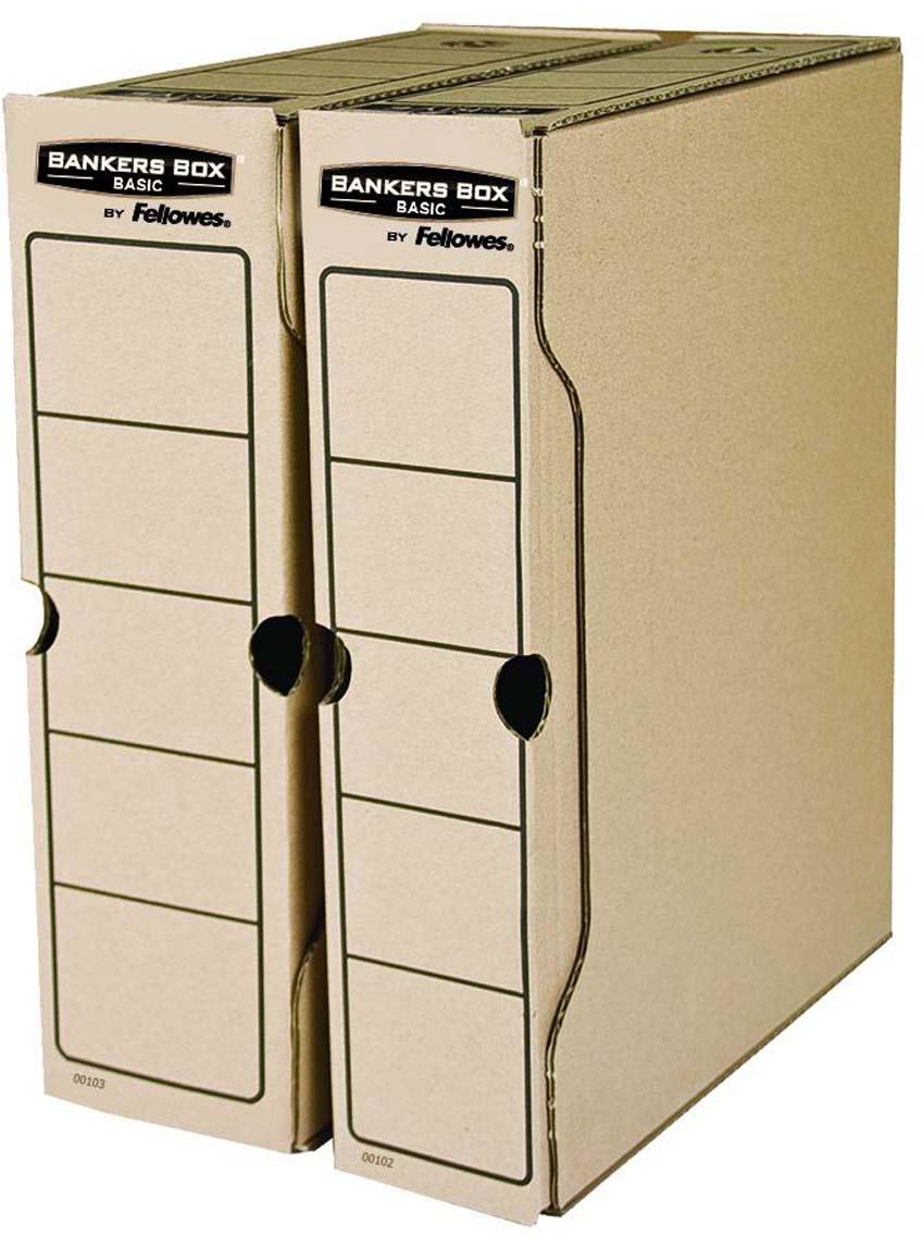 Fellowes Bankers Box Basic FS-00102 переносной архивный коробFS-00102Переносной архивный короб Bankers Box Basic FS-00102 (с прочным замком) предназначен для хранения различных документов формата А4. Прочная конструкция из гофрированного картона. Для нанесения меток на короб используются поля на передней и задней стенках. Идеально подойдет для любого офисного интерьера и поможет правильно организовать рабочее пространство.