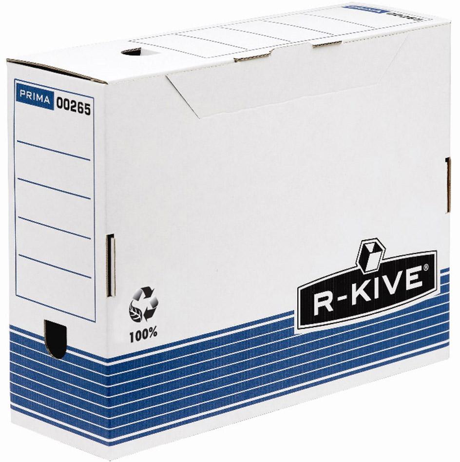 Fellowes R-Kive Prima FS-00265 переносной архивный коробFS-00265Переносной короб R-Kive Prima 100 мм FS-0026501 (с прочным замком) предназначен для хранения различных документов формата А4. Прочная конструкция из картона. Для нанесения меток на короб используются поля на передней и задней стенках. Идеально подойдет для любого офисного интерьера и поможет правильно организовать рабочее пространство. Мгновенная сборка за счет технологии FastFold.