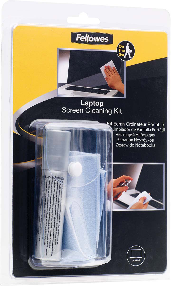 Fellowes FS-22019 комплект для ухода за ноутбуком, с салфеткой из микроволокнаFS-22019Комплект предназначен для чистки экранов ноутбуков. Регулярное использование чистящего спрея позволяет сохранять поверхность экрана в чистоте длительное время.Основные свойства:Удобная компактная упаковка.Не содержит спиртаДерматологически безопасен.Не оставляет разводов.Содержание спирта менее 1%,Обладает антистатическими свойствами.Состав комплекта:25 мл чистящего раствора.Салфетка из микрофибры.Удобный чехол для транспортировки.