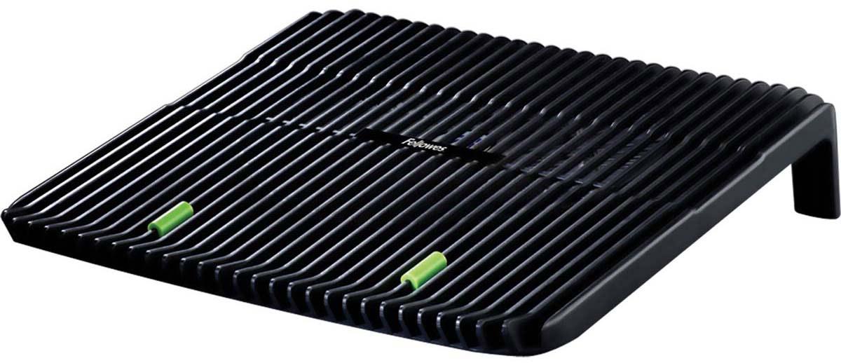 Fellowes FS-80189 охлаждающая подставка для ноутбукаFS-80189Охлаждающая подставка для ноутбука (fs-80189).Предназначена для ноутбуков до 17.Вентилятор, подключаемый через USB порт обеспечивает эффективное охлаждение.Нескользящая поверхность обеспечивает надежное положение ноутбука на подставке.Максимальная высота наклонной поверхности - 75мм.
