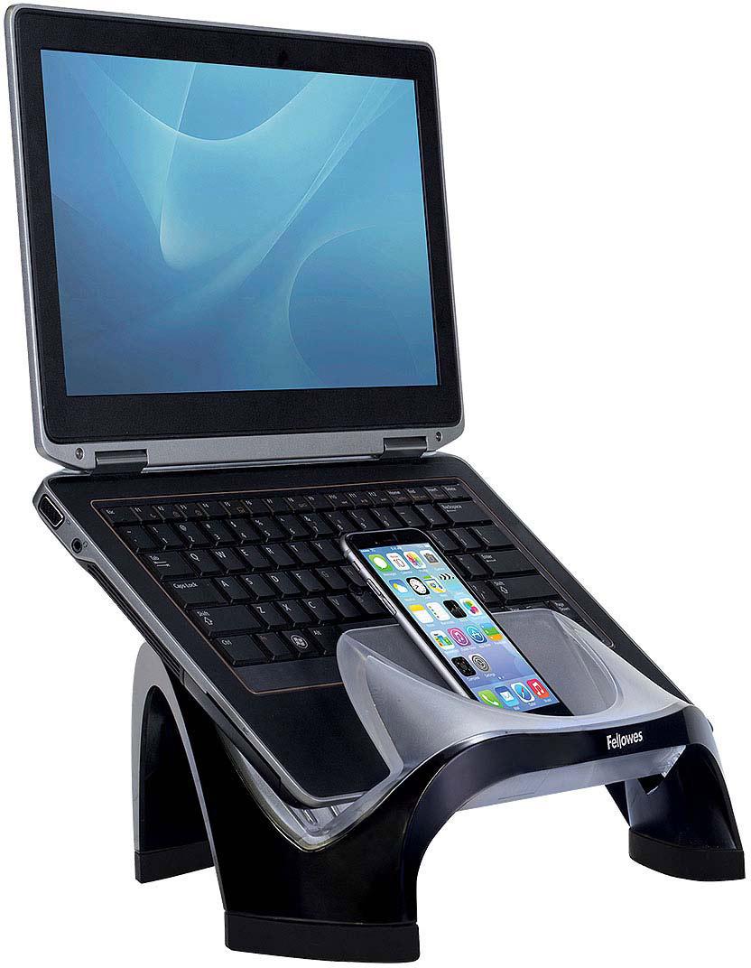 Fellowes FS-80202 подставка для ноутбукаFS-80202Подставка под ноутбук Smart Suites FS-80202 идеальна для максимальной экономии рабочего пространства и эргономичного расположения портативного компьютера.Регулируемая высота.Максимальная нагрузка 6кг. или 17 монитор.Имеет 4 порта USB и большой карман для хранения мелочей.