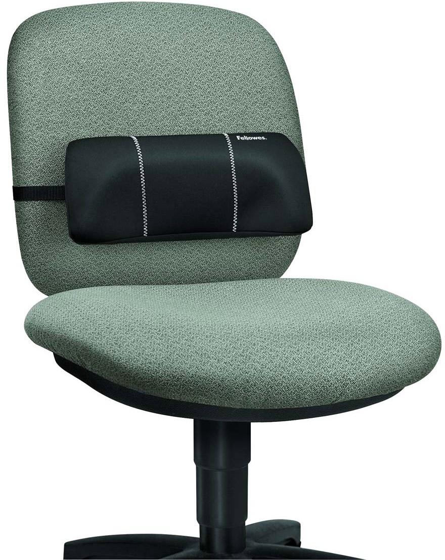 Fellowes FS-80421 поясничная подушка для креслаFS-80421Подушка для спины SMART SUITES Portable• Компактный дизайн удобен – можно взять в поездку.• Выполнена из высокочувствительного вспененного полистирола, помогающего точно повторить контуры тела.• Надежное крепление ремнями к офисному креслу.• Чехол подушки съемный, легко очищаемый.• Размер подушки: В54 х Ш304 х Г126 мм.