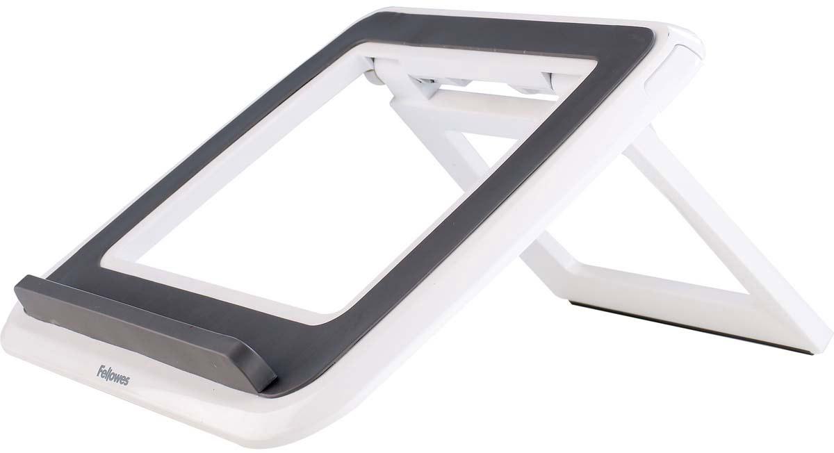 """Fellowes I-Spire Series, White Grey подставка для ноутбука до 17FS-82101Новая подставка для ноутбука серии I-Spire с регулировкой высоты и угла наклона экрана. Приподнимает экран ноутбука до комфортного угла обзора, обеспечивая правильное и комфортное положение плечевого пояса и глаз во время работы. Ограничитель на передней панели обеспечивает устойчивое положение ноутбука на подставке, конструкция предполагает пассивное охлаждение задней панели, тем самым предотвращая перегрев устройства. Стильный дизайн гармонично сочетается с любым интерьером.7 вариантов угла наклона экрана.В сложенном состоянии - плоская для удобства в переноске.Возможно использование с внешней клавиатурой и мышью.Подходит для ноутбуков до 17"""".Доступна в белом и черном цвете.Размер подставки в сложенном виде: В42 х Ш320 х Г286 мм.Гарантия 1 год"""
