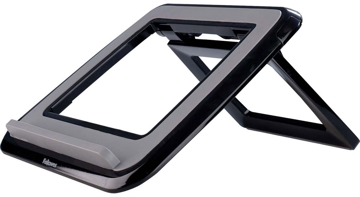 """Fellowes I-Spire Series, Black подставка для ноутбука до 17FS-82120Новая подставка для ноутбука серии I-Spire с регулировкой высоты и угла наклона экрана. Приподнимает экран ноутбука до комфортного угла обзора, обеспечивая правильное и комфортное положение плечевого пояса и глаз во время работы. Ограничитель на передней панели обеспечивает устойчивое положение ноутбука на подставке, конструкция предполагает пассивное охлаждение задней панели, тем самым предотвращая перегрев устройства. Стильный дизайн гармонично сочетается с любым интерьером.7 вариантов угла наклона экрана.В сложенном состоянии - плоская для удобства в переноске.Возможно использование с внешней клавиатурой и мышью.Подходит для ноутбуков до 17"""".Доступна в белом и черном цвете.Размер подставки в сложенном виде: В42 х Ш320 х Г286 мм.Гарантия 1 год"""