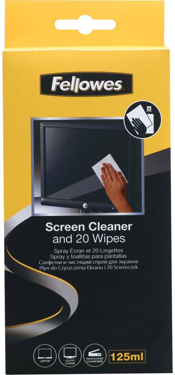 Fellowes FS-99701 набор для чистки экранов: чистящий спрей, абсорбирующие салфетки (20 шт)FS-99701Спрей для экранов Fellowes FS-99701 эффективно удаляет загрязнения, а его антистатические свойства предотвращают накопление грязи и пыли.Основные свойства:Подходит для любых мониторов и стеклянных поверхностей сканеров и копировальных аппаратов.Не содержит абразивов.Дерматологически безопасен.Антистатическая формула помогает защитить от оседания пыли на поверхности.Не оставляет разводов.Содержание спирта менее 1%.Состав комплекта:Чистящий спрей 120 мл.Салфетки абсорбирующие 20 шт.