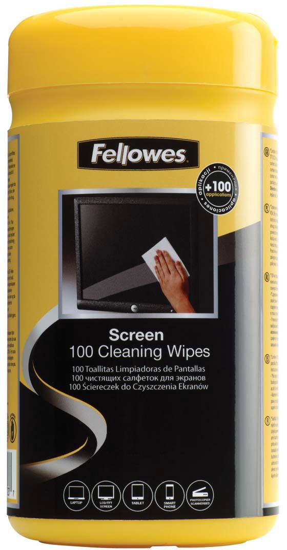 Fellowes FS-99703 салфетки для экранов (100 шт)FS-99703Салфетки для экранов FS-99703 позволяют быстро и качественно очистить любой тип экрана, а также стеклянные поверхности.Не оставляют разводов и пятен на экране.Не содержат спирта, дерматологически безопасны и антистатичны.Количество в тубе: 100шт.