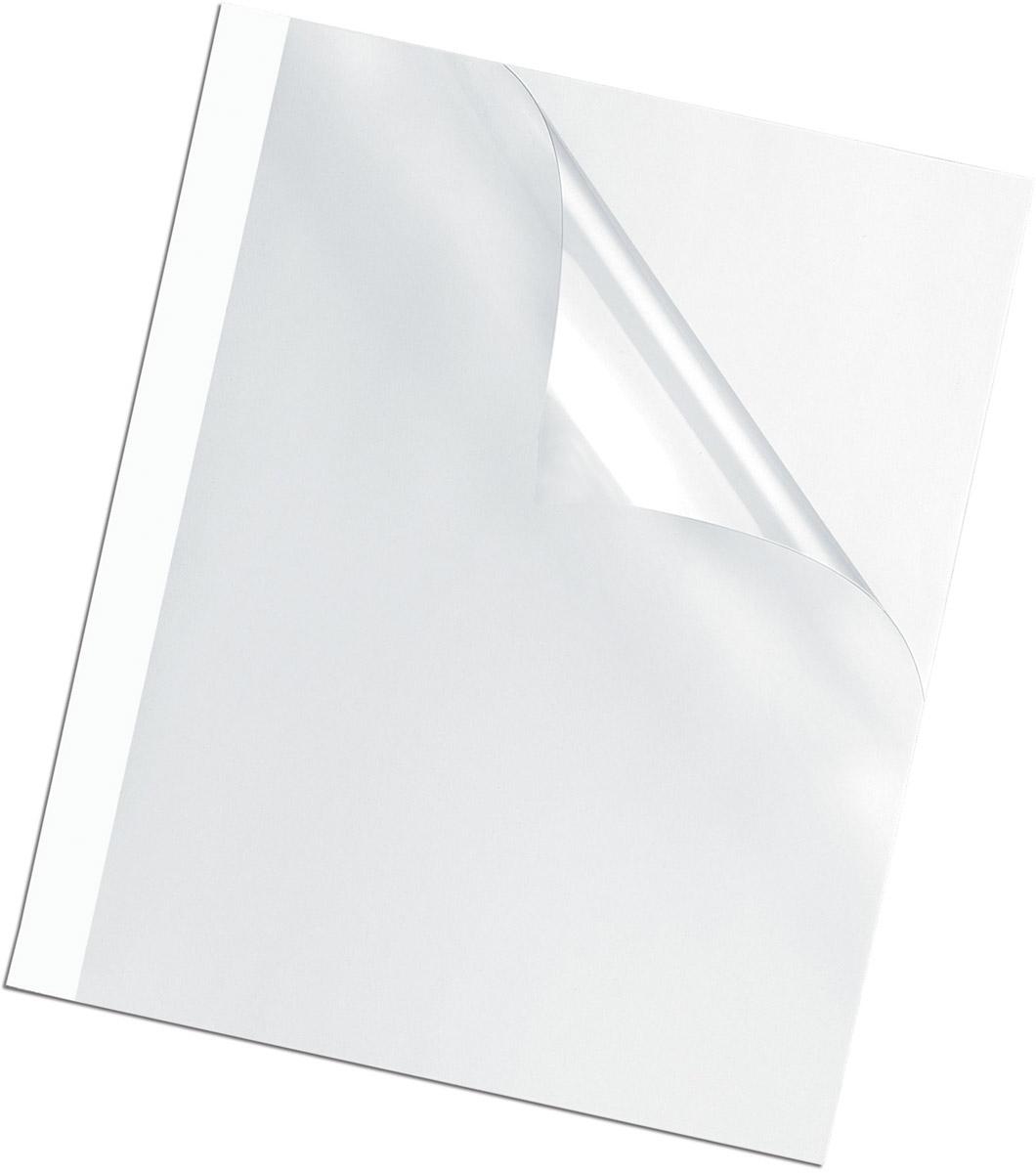 Fellowes A4 FS-53154 обложка для термопереплета, 6 мм (100 шт)FS-53154Обложка для термопереплета предназначена для оформления документов. Верх обложки – прозрачный PVC (150мкм), низ – глянцевый картон (220гр/кв.м). 100шт. в розничной упаковке.