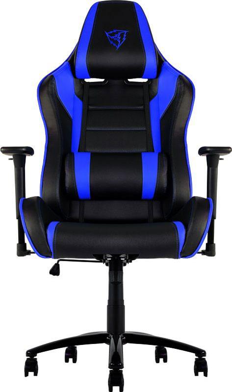 ThunderX3 TGC30, Black Blue профессиональное геймерское креслоTX3-30BBМягкое комфортное геймерское кресло ThunderX3 TGC30 имеет регулируемые подушки для шеи и поясницы. Подушку под шею возможно использовать по-разному, она позволяет шее отдыхать, поддерживая контуры вашей головы. Качаться вперед назад с любой силой и интенсивностью позволяет специально разработанный механизм. Садитесь прямо, откиньтесь назад либо повторяйте оба движения в заданном ритме. В кресле вам будет максимально комфортно даже при длительных игровых сессиях.Прочная металлическая основаМягкий кожзамТип механизма бабочкаПневматическая регулировка высоты сиденья60 мм нейлоновые колесикиРегулируемый подголовникПодушка под шеюРегулирование положение сиденья с фиксациейУгол наклона спинки 3° - 18°.