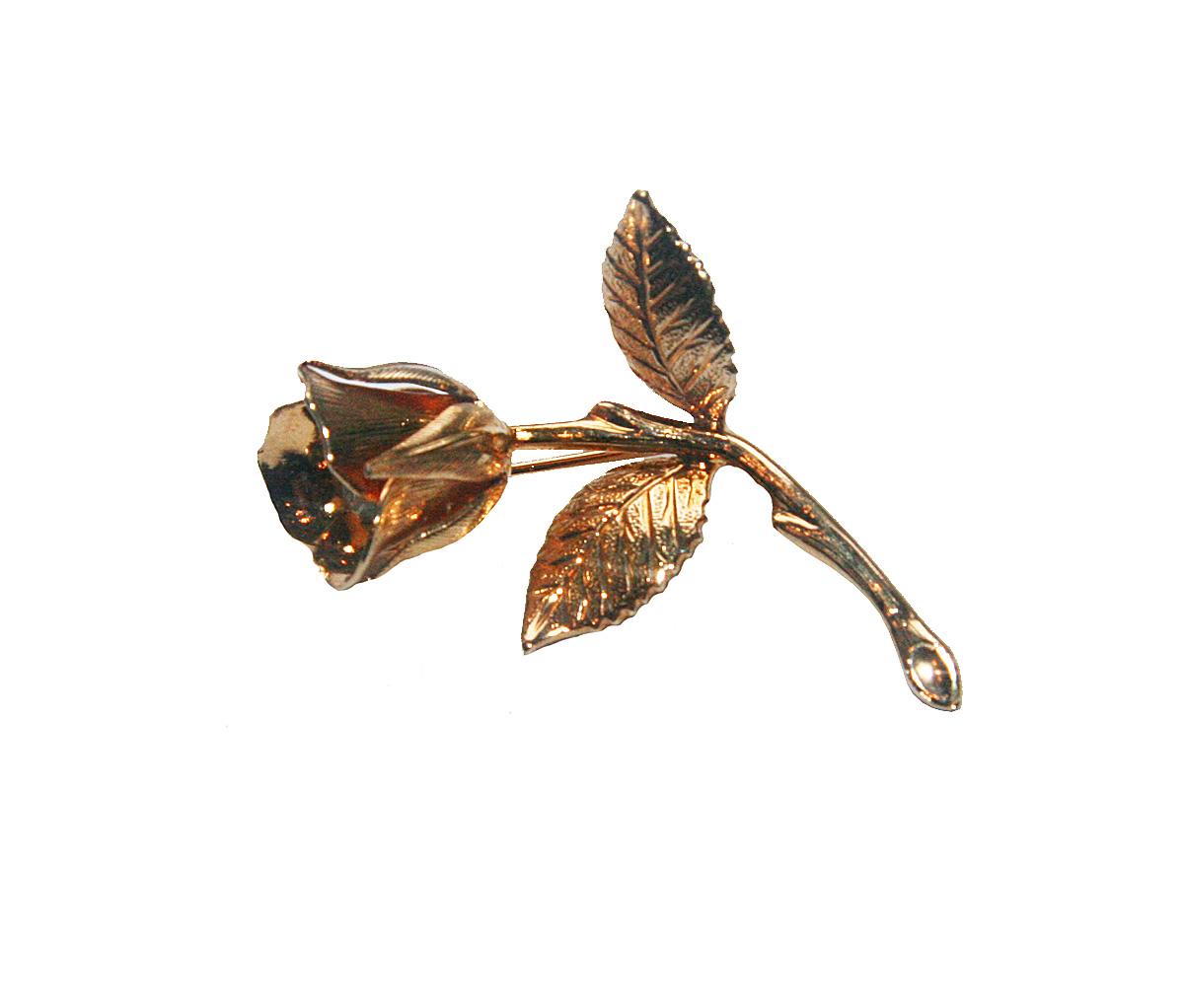 Винтажная брошь Золотая роза. Ювелирный сплав золотого цвета, кристалл. США, 1960-е годыБрошь-булавкаВинтажная брошь Золотая роза. Ювелирный сплав золотого цвета, кристалл. США, 1960-е годы. Размер броши 2,5 х 4,5 см. Сохранность отличная. Внутри бутона расположен переливающийся драгоценным сиянием кристалл. Очень красивая винтажная брошь! Четкая детализация, идеальная сохранность!