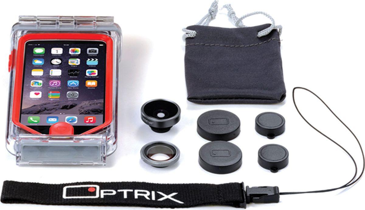 Optrix Photo, Black Red набор для фотосъемки для iPhone 5/5s/SEFS-94660Набор для создания уникальных фотографий и видео при помощи Вашего iPhone®.Ультралегкий защитный корпус обеспечит сохранность устройства в любых экстремальных условиях, тогда как сменные линзы значительно расширят возможности его камеры. Чехол Optrix для iPhone отличается точно сконструированной и надежной конструкцией, превращающей ваш iPhone в полноценную экшн-камеру: съемка во время сплава по реке, велопрогулки, катания на лыжах, пляжного отдыха - все это возможно теперь при помощи Вашего iPhone! • 100% водонепроницаемость при погружении на глубину до 4,5 м (соответствует стандарту IP68)• Ударопрочность: выдерживает падение с высоты до 6,1 м (соответствует стандарту MIL-STD-810G)• Сверхпрочный корпус, сохраняющий весь функционал смартфона• Специальная защитная мембрана сохраняет все свойства сенсорного экрана устройства• Подходит к широкому ассортименту креплений• 2 сменных объектива (алюминий/стекло)