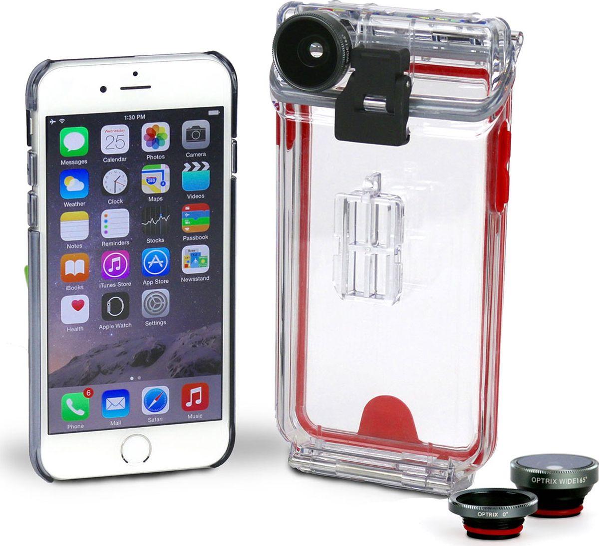 Optrix Photo, Clear Red набор для фотосъемки для iPhone 6/6sFS-94767Набор для создания уникальных фотографий и видео при помощи Вашего iPhone®.Ультралегкий защитный корпус обеспечит сохранность устройства в любых экстремальных условиях, тогда как сменные линзы значительно расширят возможности его камеры. Чехол Optrix для iPhone отличается точно сконструированной и надежной конструкцией, превращающей ваш iPhone в полноценную экшн-камеру: съемка во время сплава по реке, велопрогулки, катания на лыжах, пляжного отдыха - все это возможно теперь при помощи Вашего iPhone! 100% водонепроницаемость при погружении на глубину до 10 м (соответствует стандарту IP68)• Ударопрочность: выдерживает падение с высоты до 6,1 м (соответствует стандарту MIL-STD-810G)• Сверхпрочный корпус, сохраняющий весь функционал смартфона• Специальная защитная мембрана сохраняет все свойства сенсорного экрана устройства• Подходит к широкому ассортименту креплений• 2 сменных объектива (алюминий/стекло)
