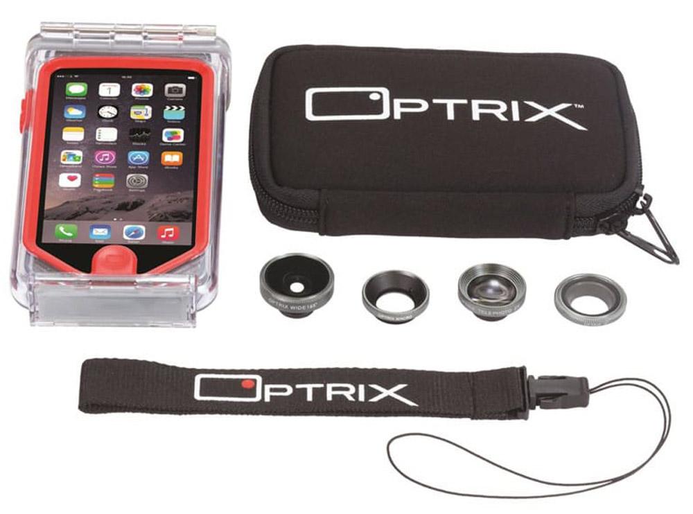 Optrix Photo Pro, Clear Red набор для фотосъемки для iPhone 6/6sFS-94768Профессиональный набор, включающий 4 сменных объектива и жесткий чехол для их хранения. Снимайте в любых ситуациях, в любых условиях, не боясь повредить свой iPhone.Чехол Optrix для iPhone отличается точно сконструированной и надежной конструкцией, превращающей ваш iPhone в полноценную экшн-камеру: съемка во время сплава по реке, велопрогулки, катания на лыжах, пляжного отдыха - все это возможно теперь при помощи Вашего iPhone! • 100% водонепроницаемость при погружении на глубину до 10 м (соответствует стандарту IP68)• Ударопрочность: выдерживает падение с высоты до 6,1 м (соответствует стандарту MIL-STD-810G)• Сверхпрочный корпус, сохраняющий весь функционал смартфона• Специальная защитная мембрана сохраняет все свойства сенсорного экрана устройства• Подходит к широкому ассортименту креплений• 4 сменных объектива (алюминий/стекло)