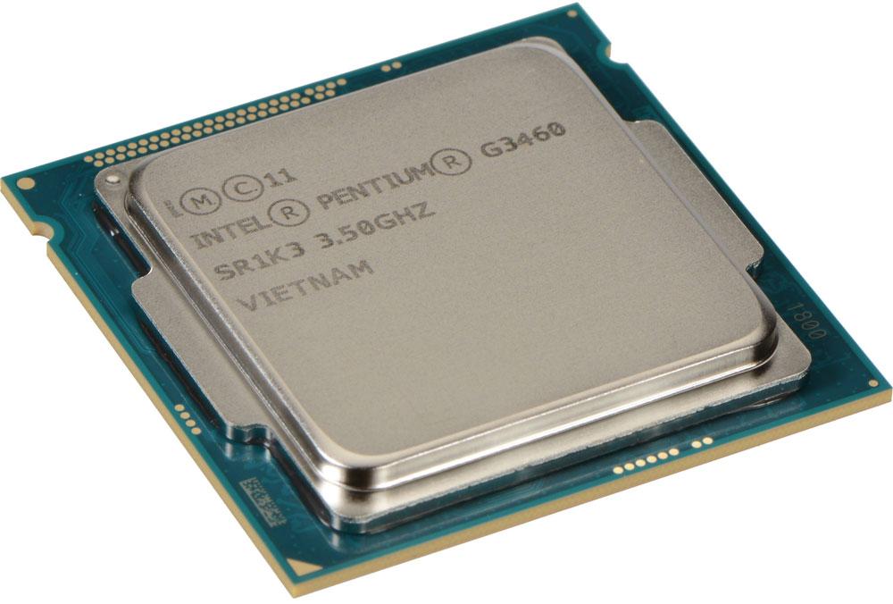 Intel Pentium G3460 процессор947529Pentium G3460 - процессор для настольных персональных компьютеров, основанных на платформе Intel.В основе лежит архитектура Haswell, что позволяет оптимизировать работу двух ядер, функционирующих на частоте 3500 МГц. Дополнительное быстродействие обеспечивается кэш-памятью третьего уровня объемом 3072 КБ. Обработка изображения перед демонстрацией его на мониторе ПК осуществляется графическим процессором Intel HD Graphics.Для двусторонней передачи данных между Pentium G3460 и оперативной памятью компьютера предусмотрен встроенный контроллер, поддерживающий модули размером до 32 ГБ. Также в данной модели установлены контроллер PCI-E 3.0 и системная шина DMI 2.0, которые используются для связи с другими элементами ПК.