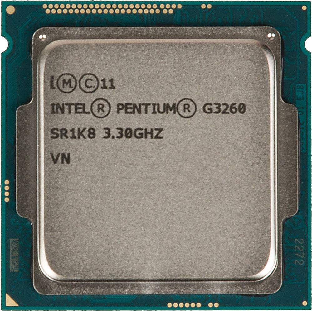 Intel Pentium G3260 процессор293041Pentium G3260 - процессор для настольных персональных компьютеров, основанных на платформе Intel.В основе лежит архитектура Haswell, что позволяет оптимизировать работу двух ядер, функционирующих на частоте 3300 МГц. Дополнительное быстродействие обеспечивается кэш-памятью третьего уровня объемом 3072 КБ. Обработка изображения перед демонстрацией его на мониторе ПК осуществляется графическим процессором Intel HD Graphics.Для двусторонней передачи данных между Pentium G3260 и оперативной памятью компьютера предусмотрен встроенный контроллер, поддерживающий модули размером до 32 ГБ. Также в данной модели установлены контроллер PCI-E 3.0 и системная шина DMI 2.0, которые используются для связи с другими элементами ПК.