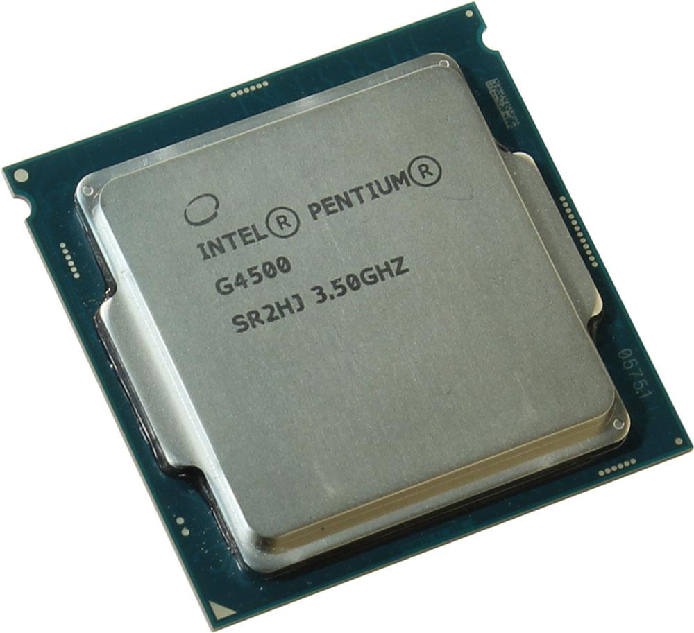 Intel Pentium G4500 процессор323419Pentium G4500 - процессор для настольных персональных компьютеров, основанных на платформе Intel.В основе лежит архитектура Skylake, что позволяет оптимизировать работу двух ядер, функционирующих на частоте 3500 МГц. Дополнительное быстродействие обеспечивается кэш-памятью третьего уровня объемом 3072 КБ. Обработка изображения перед демонстрацией его на мониторе ПК осуществляется графическим процессором Intel HD Graphics 530.Для двусторонней передачи данных между Pentium G4500 и оперативной памятью компьютера предусмотрен встроенный контроллер, поддерживающий модули размером до 64 ГБ. Также в данной модели установлены контроллер PCI-E 3.0 и системная шина DMI 3.0, которые используются для связи с другими элементами ПК.