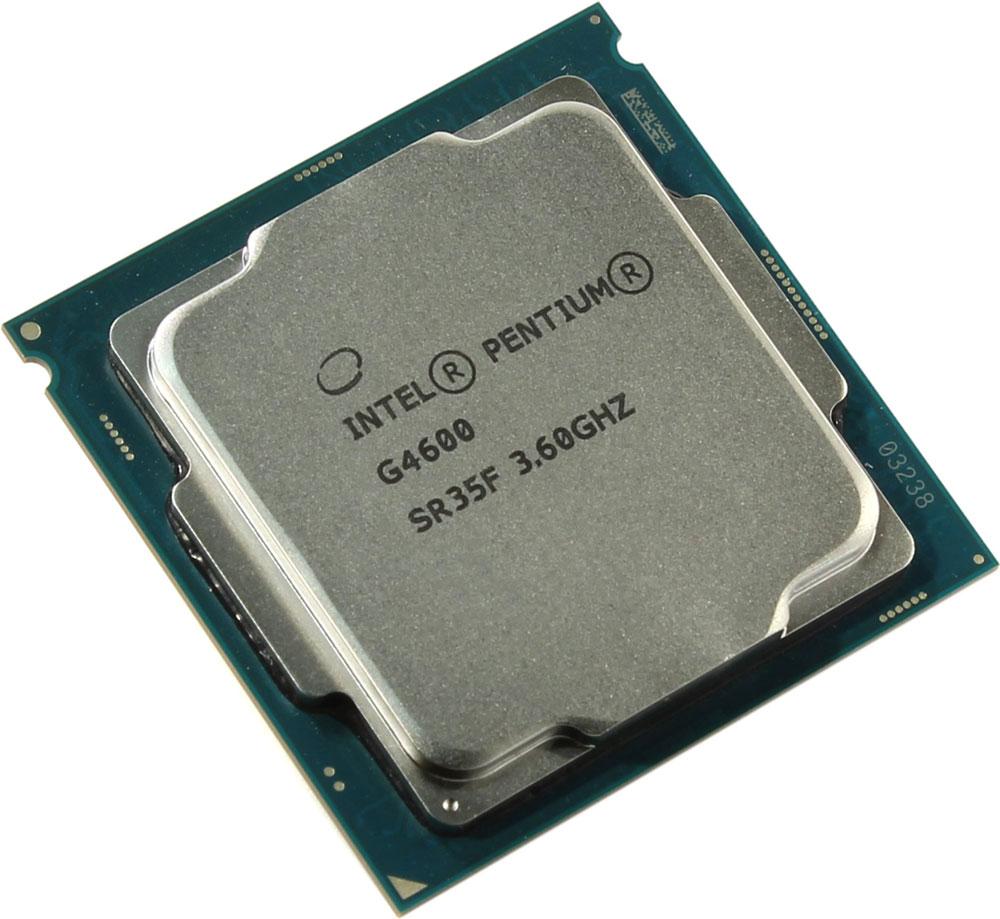 Intel Pentium G4600 процессор410644Pentium G4600 - процессор для настольных персональных компьютеров, основанных на платформе Intel.В основе лежит архитектура Kaby Lake, что позволяет оптимизировать работу двух ядер и 4 потоков, функционирующих на частоте 3600 МГц. Дополнительное быстродействие обеспечивается кэш-памятью третьего уровня объемом 3072 КБ. Обработка изображения перед демонстрацией его на мониторе ПК осуществляется графическим процессором Intel HD Graphics 630.Для двусторонней передачи данных между Pentium G4600 и оперативной памятью компьютера предусмотрен встроенный контроллер, поддерживающий модули размером до 64 ГБ. Также в данной модели установлены контроллер PCI-E 3.0 и системная шина DMI 3.0, которые используются для связи с другими элементами ПК.