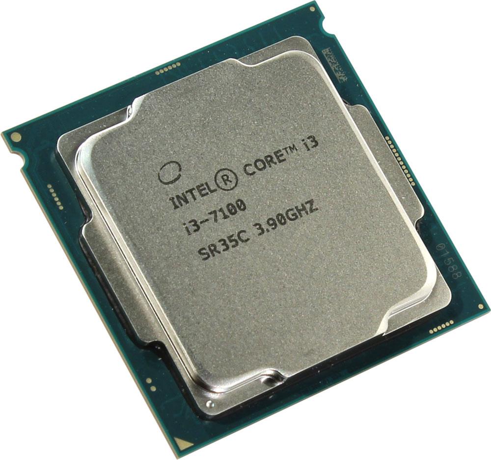 Intel Core i3-7100 процессор410649Core i3-7100 - процессор для настольных персональных компьютеров, основанных на платформе Intel.В основе лежит архитектура Kaby Lake, что позволяет оптимизировать работу двух ядер и четырех потоков, функционирующих на частоте 3,9 ГГц. Дополнительное быстродействие обеспечивается кэш-памятью третьего уровня объемом 3072 КБ. Обработка изображения перед демонстрацией его на мониторе ПК осуществляется графическим процессором Intel HD Graphics 630.Для двусторонней передачи данных между Intel Core i3-7100 и оперативной памятью компьютера предусмотрен встроенный контроллер, поддерживающий модули размером до 64 ГБ. Также в данной модели установлены контроллер PCI-E 3.0 и системная шина DMI 3.0, которые используются для связи с другими элементами ПК.