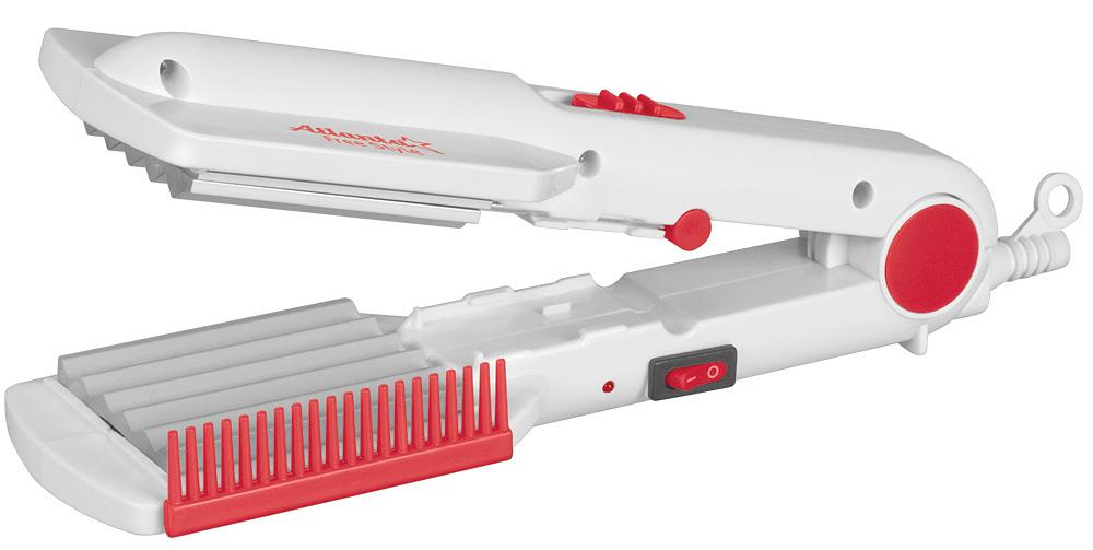 Atlanta ATH-935 щипцы для укладки волосATH-935Щипцы для укладки волос Atlanta ATH-935. Благодаря сбалансированному керамическому нагревательному элементу, прибор набирает рабочую температуру 150°C за 120 секунд и не достигает опасной для волос температуры. Два типа рабочих поверхностей позволяет использовать стайлер для разного типа причесок. К тому же, замена насадки осуществляется простым переключателям и вам не придется отдельно хранить дополнительный набор насадок. Эргономичный дизайн и фиксация в сложенном виде, для компактного хранения, все это придает дополнительный комфорт при использовании данных щипцов каждый день.Размер насадок: 54 мм х 69 мм