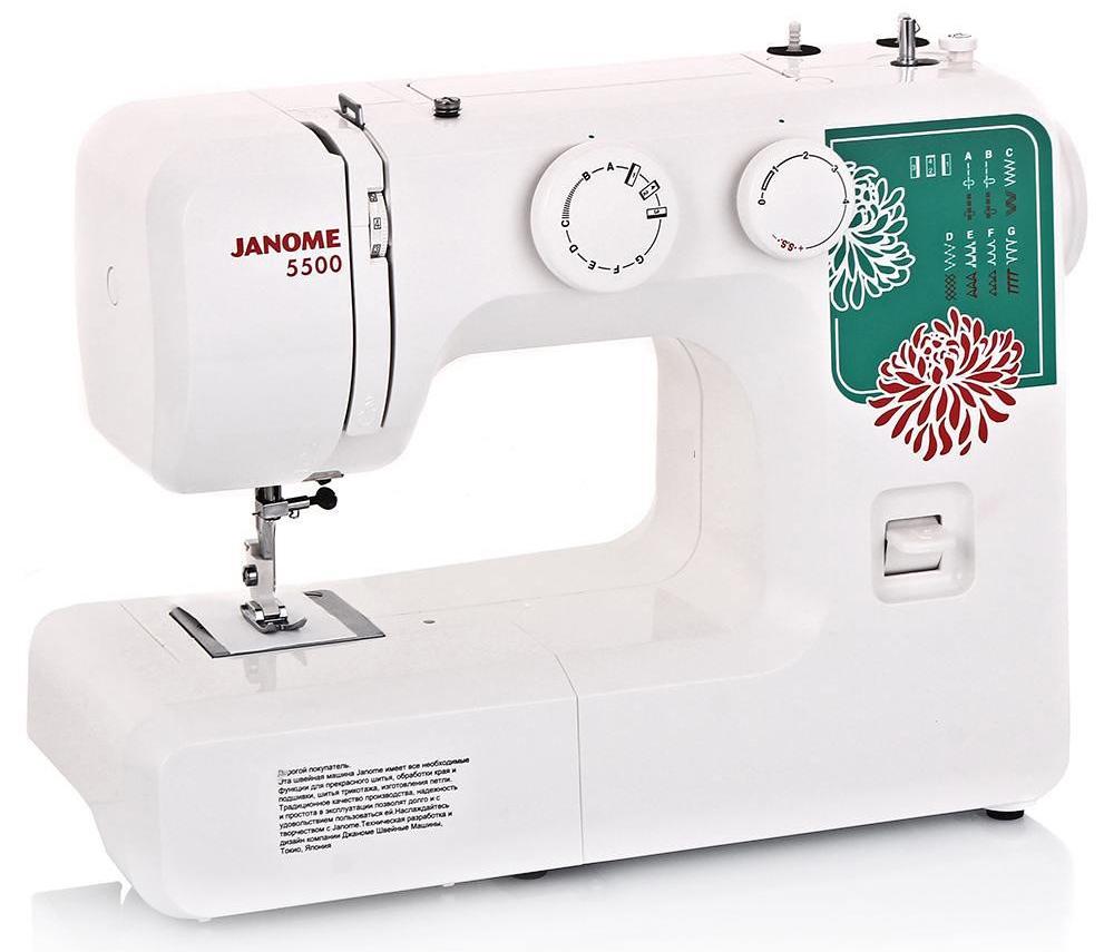 Janome 5500 швейная машинаJanome5500Janome 5500 - отличный вариант для начинающих швей, а также для тех, кто собирается использовать машинку лишь от случая к случаю.Модель отличается доступной ценой, приятным дизайном и простотой в эксплуатации. Максимальная скорость работы достигает 600 стежков в минуту – для начинающей швеи этого более, чем достаточно. Устройство выполняет 15 различных видов строчек, включающие в себя не только рабочие, но и декоративные. Предусмотрено несколько швов для работы с тянущимися трикотажными материалами.Для хранения мелких швейных принадлежностей внутри корпуса расположен специальный ящик. Благодаря комплекту шпулек удобно шить нитками различного цвета. Также в набор входят различные лапки: для выполнения петель, для вшивания молнии, для выполнения потайного шва, а также стандартная лапка. Кнопка реверса поможет вам надежно закрепить концы строчек. Длину и ширину стежка вы регулируете вручную, подстраиваясь под выбранный тип ткани. Для работы с круговыми деталями одежды предусмотрена специальная узкая платформа.