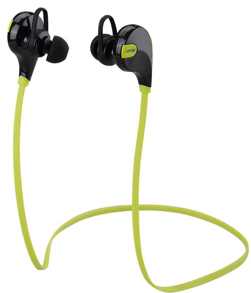 Mpow Swift, Yellow беспроводные наушникиMBH5Благодаря встроенному Bluetooth 4.0 и технологии apt-X, беспроводные спортивные наушники Mpow Swift обеспечивают воспроизведение стерео музыки высокой четкости. Наушники Mpow Swift обеспечивают также воспроизведение четкой речи, благодаря встроенной технологии шумоподавления.Вы можете наслаждаться бесперебойной беспроводной музыкой в диапазоне 10 метров. Универсальные наушники Mpow Swift совместимы с большинством телефонов с поддержкой Bluetooth. Конструкция наушников устойчива к поту и интенсивным движениям во время тренировки, что гарантирует надежную фиксацию и комфортное использование при физических нагрузках.Мощная встроенная батарея позволяет использовать наушники до 5 часов в режиме разговора/воспроизведения музыки и 185 часов в режиме ожидания.В наушниках Mpow Swift используется технология Bluetooth 4.0 с алгоритмом сжатия apt-X. Наушники оснащены технологией усиления сигнала, которая предотвращает перебои и прерывания сигнала, если между наушниками и звуковоспроизводящим устройством есть барьеры. Наушники Mpow Swift оснащены также технологией шумоподавления CVC 6.0 Digital, которая фильтрует внешние шумы и увеличивает четкость музыки и телефонных разговоров.