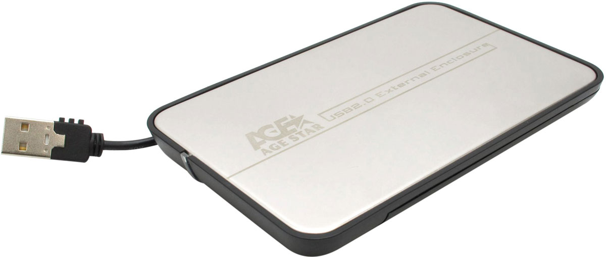 AgeStar SUB2A8, Silver внешний корпус для 2.5 HDD/SSD530502 SILVERВнешний корпус AgeStar SUB2A8 предназначен для работы с жесткими дисками форм-фактора 2.5 с интерфейсом SATA посредством интерфейса USB 2.0. Корпус имеет безвинтовую конструкцию, что значительно облегчает процесс установки жесткого диска. Встроенный USB 2.0 кабель позволяет забыть о различных проводах, которые необходимо всегда носить вместе с корпусом. Еще одним достоинством данного продукта является стильный дизайн крышки. Внешний корпус поддерживает функции Hot-Plug и Plug & Play.