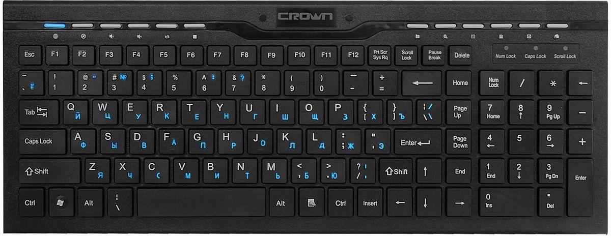 Crown CMK-201, Black клавиатураCM000000929Особенности:Мультимедийная клавиатура с 12 дополнительными клавишами быстрого набора; Клавиша переключения языка; Кириллица-цвет синий; Цифровои? блок клавиш.