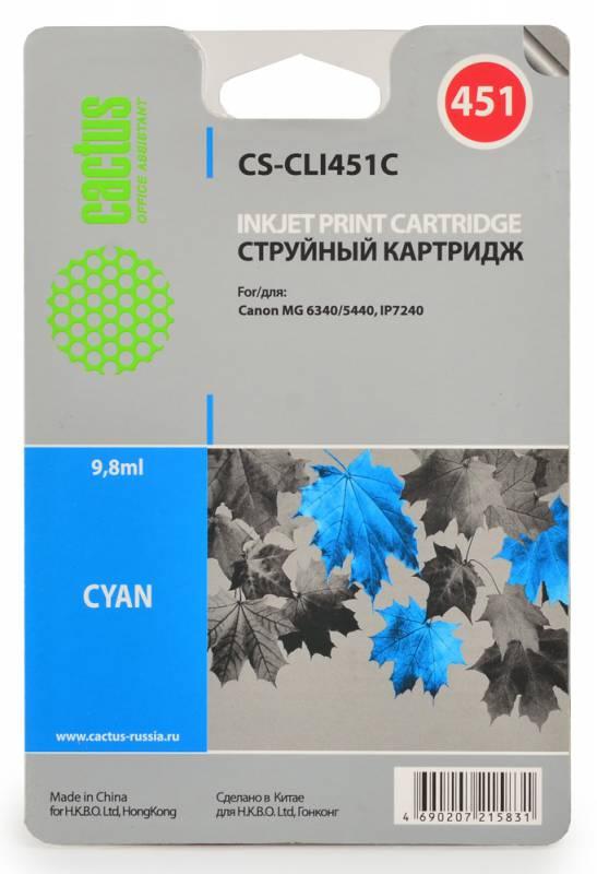 Cactus CS-CLI451C, Cyan струйный картридж для Canon MG 6340/5440 IP7240CS-CLI451CКартридж Cactus CS-CLI451C для струйных принтеров Canon.Расходные материалы Cactus для печати максимизируют характеристики принтера. Обеспечивают повышенную четкость изображения и плавность переходов оттенков и полутонов, позволяют отображать мельчайшие детали изображения. Обеспечивают надежное качество печати.