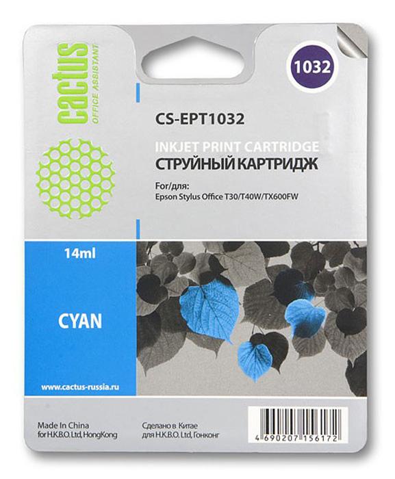 Cactus CS-EPT1032, Cyan струйный картридж для Epson Stylus Office T30/T40W/TX600FW
