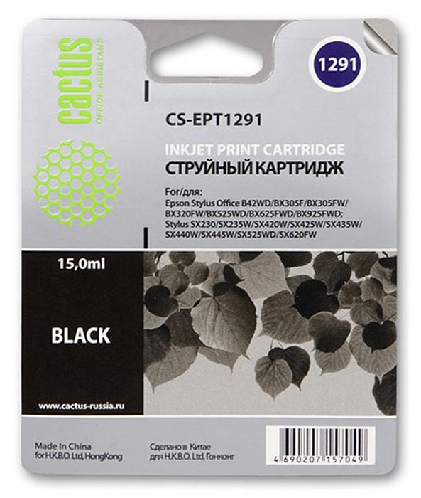 Cactus CS-EPT1291, Black струйный картридж для Epson Stylus Office B42/BX305/BX305F/BX320CS-EPT1291Картридж Cactus CS-EPT1291 для струйных принтеров Epson.Расходные материалы Cactus для монохромной печати максимизируют характеристики принтера. Обеспечивают повышенную чёткость чёрного текста и плавность переходов оттенков серого цвета и полутонов, позволяют отображать мельчайшие детали изображения. Обеспечивают надежное качество печати.
