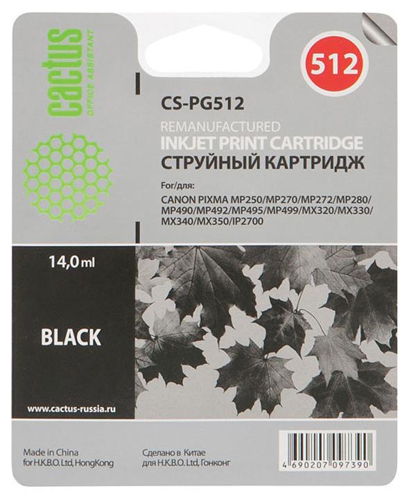 Cactus CS-PG512 струйный картридж для Canon Pixma MP250/MP270/MP272/MP280/MP490CS-PG512Картридж Cactus CS-PG512 для струйных принтеров Canon.Расходные материалы Cactus для монохромной печати максимизируют характеристики принтера. Обеспечивают повышенную чёткость чёрного текста и плавность переходов оттенков серого цвета и полутонов, позволяют отображать мельчайшие детали изображения. Обеспечивают надежное качество печати.
