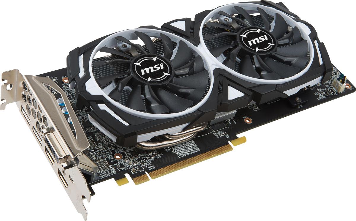 MSI Radeon RX 580 ARMOR OC 4GB видеокартаRX 580 ARMOR 4G OCЧетвертое поколение архитектуры GCN разработано специально для геймеров, предпочитающих как MOBA, так и игры категории AAA. Асинхронные шейдеры и улучшенный механизм геометрии открывает новые высоты игровой производительности с видеокартой MSI Radeon RX 580 Armor OC.Испытайте новые ощущения от погружения в мир виртуального гейминга и развлечений вместе с графической картой MSI Radeon RX 580 Armor OC с революционной архитектурой Polaris.Положите конец лагам геймплея и разрывам изображения. Отсутствие артефактов и плавный геймплей практически при любой частоте кадров. Улучшенный контраст и цветопередача обеспечивают яркое и насыщенное изображение.Будь стильным вместе с уникальными графическими картами MSI Radeon RX 580 Armor OC. Унаследовав дизайн Armor Shield, видеокарты выполнены в стильном черно-белом цвете. Идеальное решение для геймеров и кейс моддеров, которые ищут уникальный продукт для своих работ. Именно здесь гейминг встречает класс.Система охлаждения ARMOR 2X имеет два вентилятора MSI TORX. Благодаря запатентованному дизайну, вентиляторы MSI TORX обеспечивают великолепное охлаждение, оставаясь при этом невероятно тихими.Традиционные лопасти вентилятора направляют воздушный поток непосредственно на радиатор охлаждения.Дисперсионные лопасти вентилятора увеличивают нисходящий поток и эффективнее рассеивают тепло.Впервые представленная в 2008 году технология MSI ZeroFrozr не осталась незамеченной, в то время как сейчас, она уже успела стать индустриальным стандартом. Суть технологии заключается в управлении вентиляторами, которые полностью останавливаются при отсутствии нагрузки. Таким образом, вы можете полностью сосредоточиться на игре, не отвлекаясь на шум вентиляторов.Под стильным кожухом и двумя вентиляторами скрывается массивный радиатор с огромным количеством алюминиевых ребер охлаждения, рассеивающих тепло от графического процессора. Медные тепловые трубки имеют хороший тепловой контакт с радиат