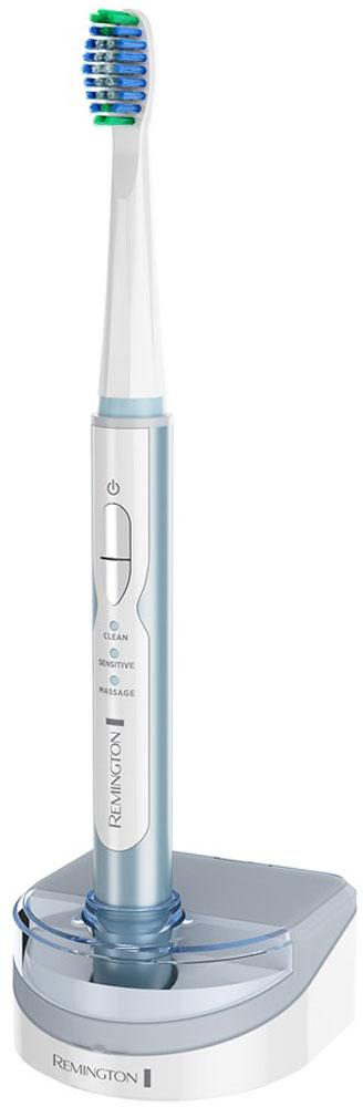 Remington Sonicfresh электрическая зубная щеткаSFT 100Усовершенствованная технология чистки зубов является ключевой особенностью электрической зубной щетки Remington Sonicfresh. Звуковая импульсная технология обеспечивает 31000 чистящих движений в минуту для глубокой чистки зубов, что помогает достичь их естественной белизны.Электрическая зубная щетка имеет три режима чистки: Массажный - для стимулирования десен, Бережный - для чувствительных зубов и десен, Обычный - для ежедневной глубокой очистки.Встроенный таймер на 2 минуты с 30-секундными интервалами помогает контролировать оптимальное время чистки зубов и различных областей полости рта.Привыкайте к новым ощущениям и потрясающему результату от ежедневной чистки зубов с зубной щеткой Remington Sonicfresh Total Clean.