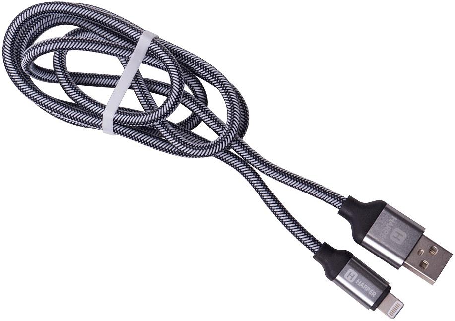 Harper Brch-510, Silver кабель USB - Lightning (1 м)00-00001354USB - Lightning, Длина кабеля: 1 м. Нейлоновая оплетка. Повышенная износоустойчивость. Повышенный срок службы - проверенные материалы. Mеталлический штекер на концах. Способны заряжать устройства до 2 ампер.