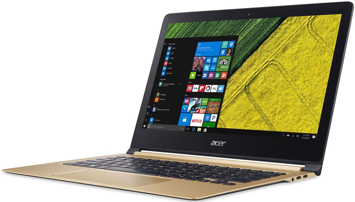 Acer Swift 7 SF713-51-M6WD, Black GoldSF713-51-M6WDAcer Swift 7 - портативный ноутбук с толщиной корпуса 10 мм и весом 1,13 кг.Забудьте о розетках на весь день. До 9 часов автономной работы позволят всегда быть в курсе событий и не пропустить ничего важного.В 3 раза более высокая скорость беспроводного подключения. Оцените трехкратное увеличение скорости беспроводного соединения благодаря стандарту 2x2 802.11ac и технологии MU-MIMO.Четкое изображение. Дисплей IPS с разрешением Full HD и диагональю 13,3 обеспечивает кристально четкое и яркое изображение. Стекло Corning Gorilla Glass нового поколения делает экран Acer Swift 7 более устойчивым к механическим повреждениям и выдерживать падения в 2 раза лучше по сравнению с моделями из других материалов.Технология Acer Color Intelligence динамически регулирует гамму и насыщенность, оптимизируя цвета и яркость.Широкий тачпад с технологией Precision Touchpad обеспечивает достаточно места для удобной навигации и высокую точность при прокрутке веб-страниц и выборе объектов.Звук с эффектом погружения. Dolby Audio Premium и Acer TrueHarmony обеспечивают объемный кристально чистый звук с эффектом погружения.Точные характеристики зависят от модели.Ноутбук сертифицирован EAC и имеет русифицированную клавиатуру и Руководство пользователя.