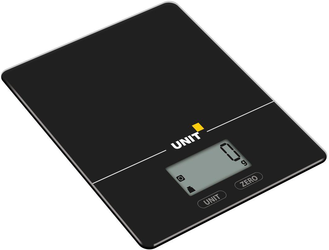 Unit UBS-2154, Black весы кухонныеCE-0473296Весы Кухонные электронные UNIT UBS-2154, стекло, 5кг. 1гр. Цвет: Черный