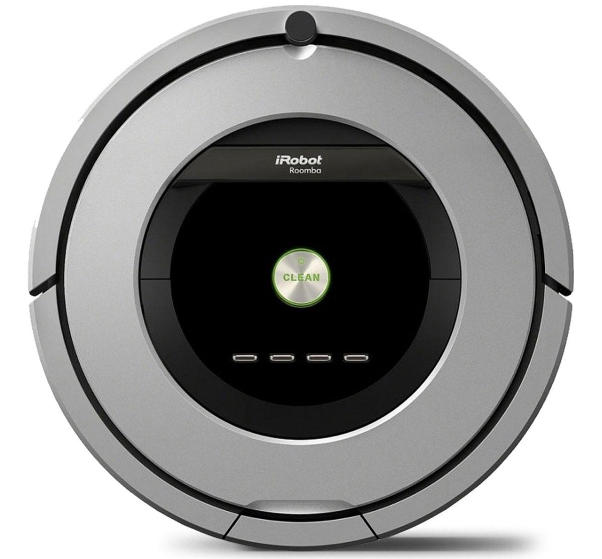 iRobot Roomba 886 робот-пылесосRoomba 886Roomba 886 - это 8 поколение роботов-пылесосов компании iRobot, в котором реализована передовая система сбора мусора и грязи AeroForceTM.Это означает, что робот убирается еще тщательнее, а обслуживание чистящего модуля стало совсем легким. Roomba 886 комплектуется аккумулятором повышенной емкости с увеличенным вдвое ресурсом. Контейнер мусоросборника оснащен HEPA-фильтром.Когда вы впервые смотрите на Roomba серии 800, скользящий по вашему дому и оставляющий за собой только идеально чистые, сияющие свежестью полы, вы можете удивиться, как ему удается достигать таких потрясающих результатов. Вот, что на самом деле происходит внутри его стильного глянцевого корпуса.Система AeroForce лежит в основе Roomba серии 800, обеспечивая эффективность, которой нет равных в мире. Эта система сочетает три революционных технологии, которые позволяют достичь максимального уровня чистоты, одновременно снижая потребность в обслуживании робота-пылесоса.1. Система резиновых валиков со скребками и защитой от спутывания AeroForce Extractors. Бесщеточные резиновые валики, вращающиеся навстречу друг другу, собирают мусор и пыль. Они просты в обслуживании.2. Усилитель воздушного потока. Увеличенная в несколько раз сила всасывания - результат усиления воздушного потока между мусоросборником AeroForce Extractors и изолированным каналом.3. Высокоэффективный пылесос.Разработанный специально для того, чтобы обеспечивать максимальную силу всасывания и оптимальную эффективность уборки в сочетании с новым аккумулятором iRobot XLife.