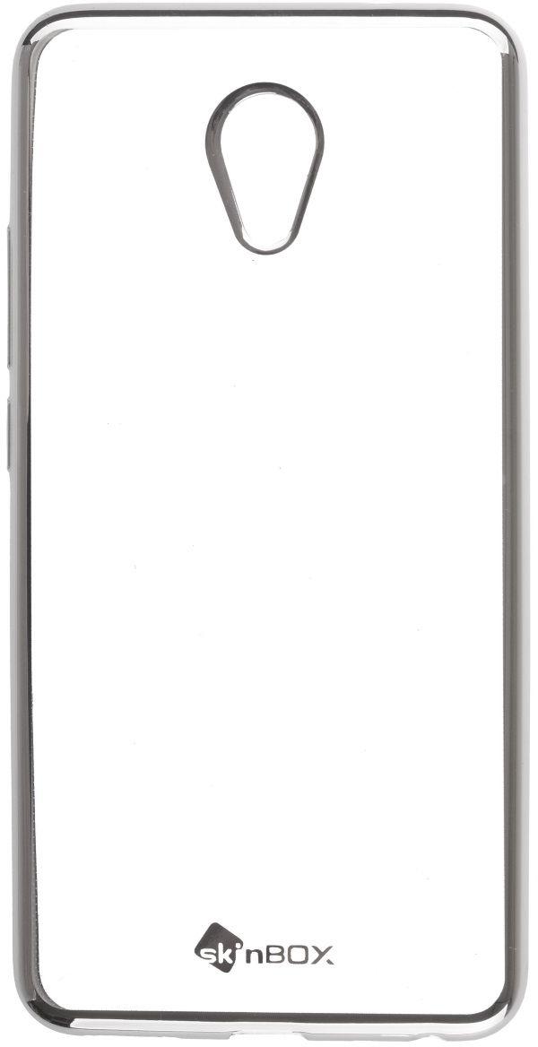Skinbox Silicone Chrome Border 4People чехол для Meizu M5 Note, Silver2000000132006Чехол надежно защищает ваш смартфон от внешних воздействий, грязи, пыли, брызг. Он также поможет при ударах и падениях, не позволив образоваться на корпусе царапинам и потертостям. Чехол обеспечивает свободный доступ ко всем функциональным кнопкам смартфона и камере.