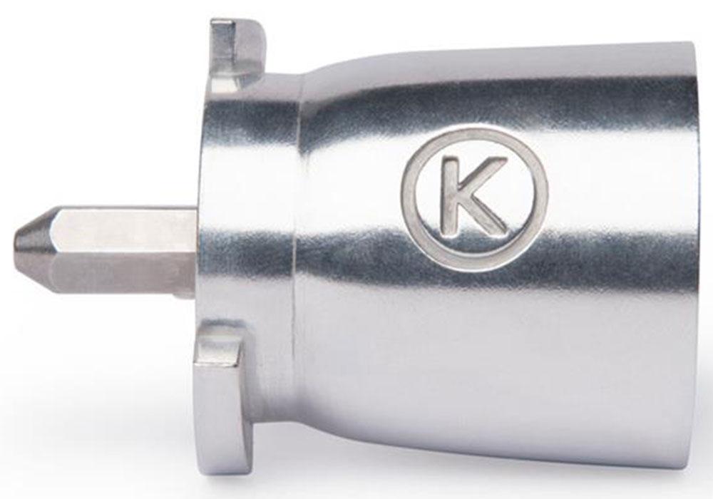 Kenwood КАТ002МЕ адаптерКАТ002МЕАдаптер Kenwood КАТ002МЕ используется для низкоскоростного отверстия кухонных машин. И служит переходником между соединением шестигранным (как в кухонных машинах серий Chef Sense) и плоским соединением (как в кухонных машинах серий Chef, Cooking Chef и Major).Использование адаптера позволяет значительно расширить ассортимент насадок, подходящих для низкоскоростного привода кухонных машин серий Chef Sense. Теперь к новой кухонной машине можно присоединить насадки, которые остались от ее предшественницы.