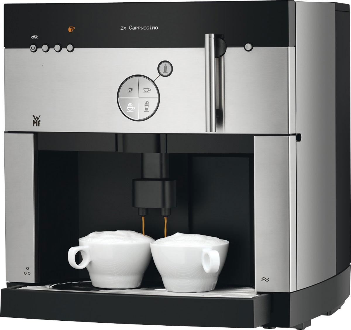 WMF 1000 S кофемашина1000 S (03.0500.1003)WMF 1000 S — автоматическая кофемашина для эксплуатации в небольших и средних офисах. Благодаря наличию независимой молочной системы, помимо привычных ристретто, эспрессо и американо, аппарат позволяет готовить такие напитки, как латте, капучино, макиато и пр.Главными особенностями кофемашины являются возможность одновременного приготовления и подачи двух порций напитка, а также функция кофейника, позволяющая существенно повысить производительность аппарата.Управление системой осуществляется с помощью 5-кнопочной панели и небольшого графического дисплея. Интуитивно-понятная навигационная панель позволяет выбирать напитки, программировать их вкусовые качества, а также управлять дополнительными функциями кофемашины, в частности подогревом чашки, таймером включения и автоматической промывкой оборудования.Отдельно стоит отметить внутреннюю изоляцию механизмов, обеспечивающую максимально тихую работу аппарата.