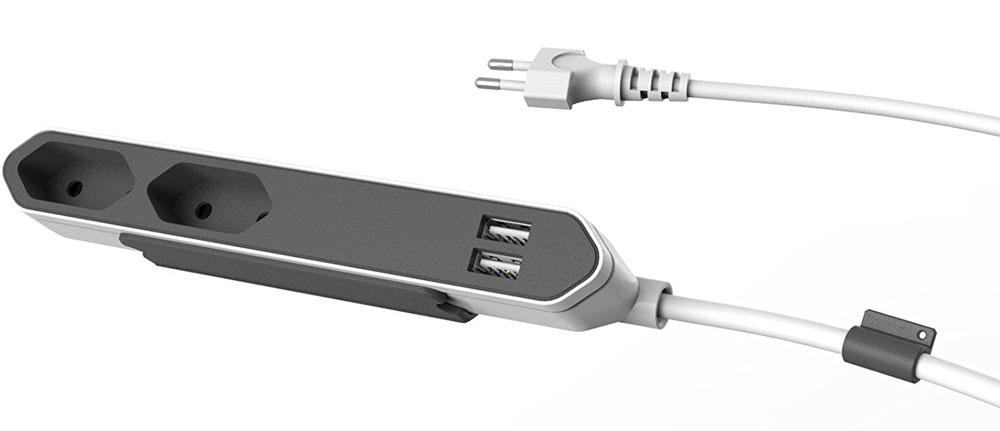 Allocacoc PowerBar USB сетевой удлинитель9102/PB2SEUPowerBar USB - компактный настольный удлинитель на 2 розетки и 2 USB порта.Благодаря плоской конструкции PowerBar не занимает много места и удобен для подключения незаземленных устройств. В комплект входит специальное крепление, так что вам не составит труда зафиксировать PowerBar на столе или под столешницей. USB разъемы данного приспособления достаточно мощны, чтобы зарядить любое мобильное устройство.