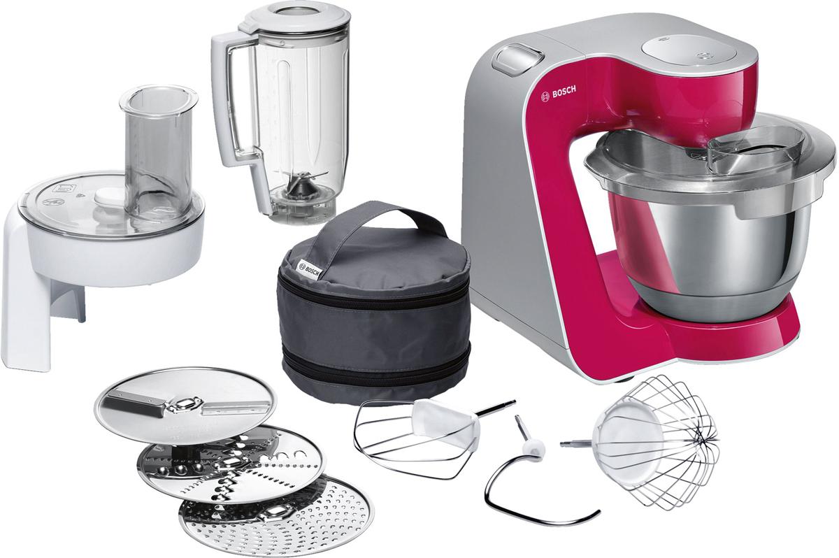 Bosch MUM58420 кухонный комбайнMUM58420Bosch MUM58420 - мощная кухонная машина с многосторонними возможностями для готовки и выпечки.Данная модель легко обрабатывает большие количества ингредиентов (до 1 кг муки плюс ингредиенты) благодаря мощному мотору 1000 Вт.Отличное качество замеса теста благодаря особой форме внутренней поверхности чаши и благодаря планетарному вращению насадок в трех плоскостях 3D. Возможно замесить до 2,7 кг легкого теста/ 1,9 кг дрожжевого теста.Прибор просто и удобно использовать благодаря функции автоматического поднятия рычага EasyArmLift. Функция автопарковки упрощает процесс смены насадок.Особую многофункциональность обеспечивают высококачественные кондитерские насадки (венчик для взбивания, венчик для смешивания, насадка для замешивания теста) и долговечный измельчитель с тремя дисками для разных типов измельчения: измельчения, шинковки и нарезки и блендер.Прибор легко чистить благодаря гладкой поверхности. А насадки можно мыть в посудомоечной машине.