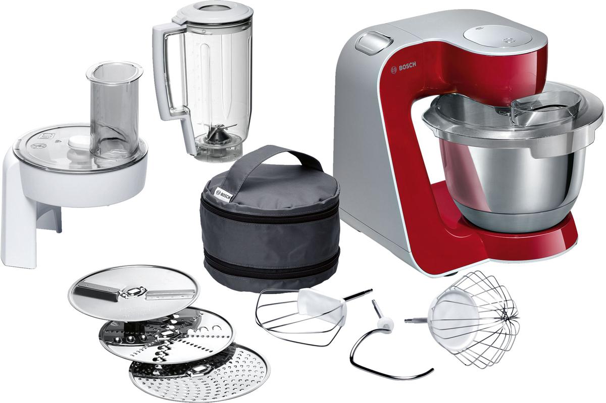 Bosch MUM58720, Red Silver кухонный комбайнMUM58720Bosch MUM58720 - мощная кухонная машина с многосторонними возможностями для готовки и выпечки.Данная модель легко обрабатывает большие количества ингредиентов (до 1 кг муки плюс ингредиенты) благодаря мощному мотору 1000 Вт.Отличное качество замеса теста благодаря особой форме внутренней поверхности чаши и благодаря планетарному вращению насадок в трех плоскостях 3D. Возможно замесить до 2,7 кг легкого теста/ 1,9 кг дрожжевого теста.Прибор просто и удобно использовать благодаря функции автоматического поднятия рычага EasyArmLift. Функция автопарковки упрощает процесс смены насадок.Особую многофункциональность обеспечивают высококачественные кондитерские насадки (венчик для взбивания, венчик для смешивания, насадка для замешивания теста) и долговечный измельчитель с тремя дисками для разных типов измельчения: измельчения, шинковки и нарезки и блендер.Прибор легко чистить благодаря гладкой поверхности. А насадки можно мыть в посудомоечной машине.