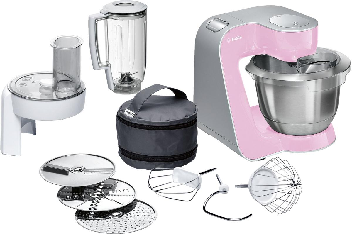 Bosch MUM58K20 кухонный комбайнMUM58K20Bosch MUM58K20 - мощная кухонная машина с многосторонними возможностями для готовки и выпечки.Данная модель легко обрабатывает большие количества ингредиентов (до 1 кг муки плюс ингредиенты) благодаря мощному мотору 1000 Вт.Отличное качество замеса теста благодаря особой форме внутренней поверхности чаши и благодаря планетарному вращению насадок в трех плоскостях 3D. Возможно замесить до 2,7 кг легкого теста/ 1,9 кг дрожжевого теста.Прибор просто и удобно использовать благодаря функции автоматического поднятия рычага EasyArmLift. Функция автопарковки упрощает процесс смены насадок.Особую многофункциональность обеспечивают высококачественные кондитерские насадки (венчик для взбивания, венчик для смешивания, насадка для замешивания теста) и долговечный измельчитель с тремя дисками для разных типов измельчения: измельчения, шинковки и нарезки и блендер.Прибор легко чистить благодаря гладкой поверхности. А насадки можно мыть в посудомоечной машине.