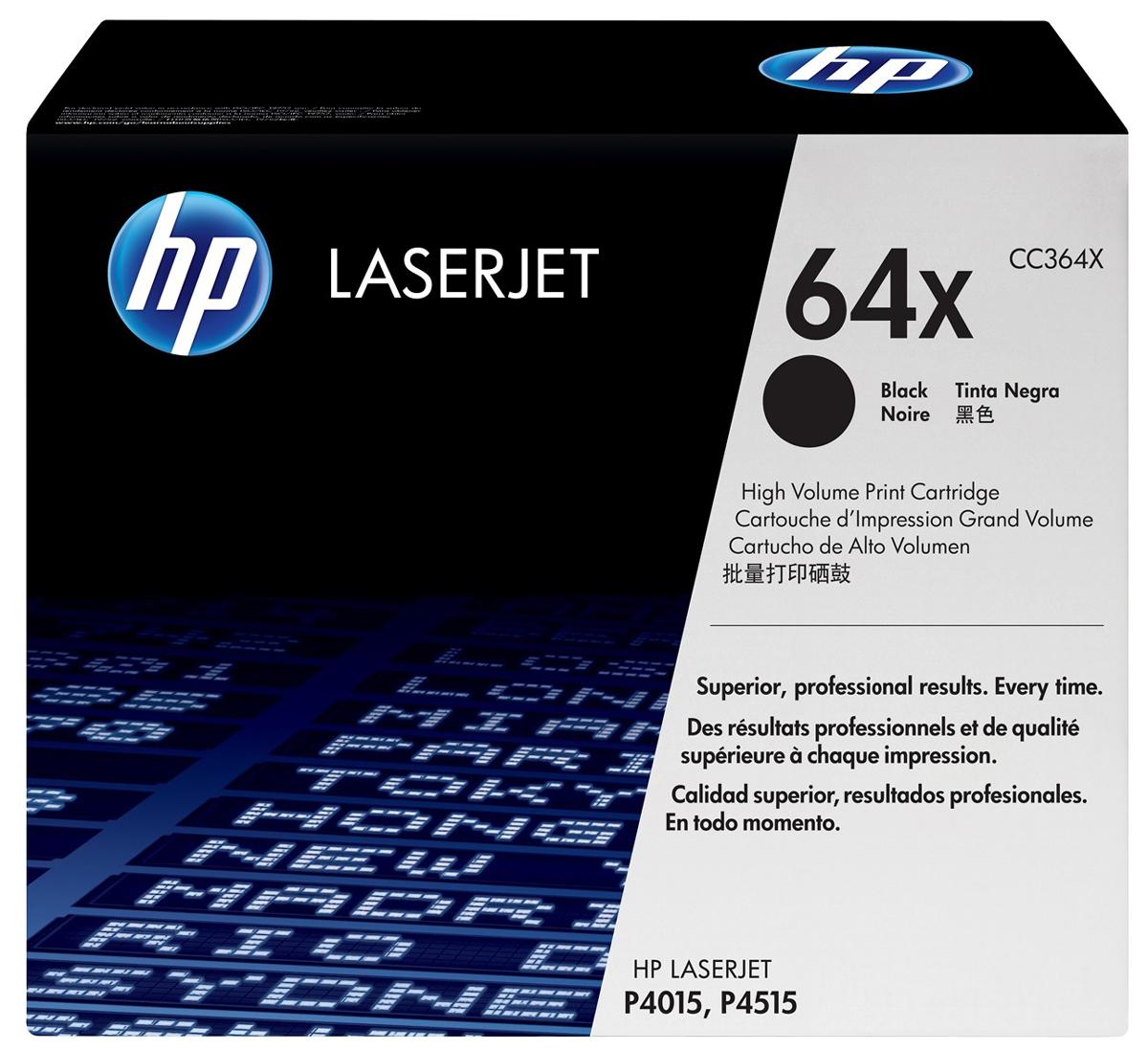 HP CC364X (64X), Black тонер-картридж для HP LaserJet P4015/4515CC364XКартриджи с тонером HP 64X LaserJet обеспечивают бесперебойную печать и неизменно качественный результат. Оригинальные картриджи с тонером HP гарантируют качественное выполнение задач печати в офисе. HP – лидер в сфере экологичных технологий печати.Быстрая беспроблемная печать позволяет сконцентрироваться на более важных задачах. Уникальная формула тонера HP обеспечивает качество и надежность, необходимые бизнесу. Легкое управление расходными материалами позволяет экономить время и делает печать более эффективной.Оригинальная конструкция картриджей HP и уникальная формула тонера HP гарантируют неизменно высокое качество печати на протяжении всего срока службы картриджа. Конструкция картриджа обеспечивает неизменность ресурса при замене.