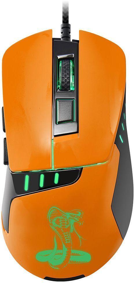 Oklick 865G Snake, Black Orange игровая мышь865GБольшая и удобная мышь Oklick 865G Snake создана для работы и развлечения. Ассиметричный дизайн и цепкое покрытие боковых граней обеспечивают крепкий захват и удобное положение кисти. Мышь имеет 6 элементов управления, сенсор высокого разрешения 800/1200/1600/2400 dpi, 1,8 м шнур в прочной оплетке, красивую изумрудную подсветку графических элементов.