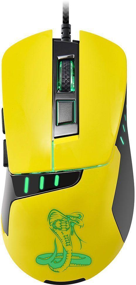 Oklick 865G Snake, Black Yellow игровая мышь865GБольшая и удобная мышь Oklick 865G Snake создана для работы и развлечения. Ассиметричный дизайн и цепкое покрытие боковых граней обеспечивают крепкий захват и удобное положение кисти. Мышь имеет 6 элементов управления, сенсор высокого разрешения 800/1200/1600/2400 dpi, 1,8 м шнур в прочной оплетке, красивую изумрудную подсветку графических элементов.