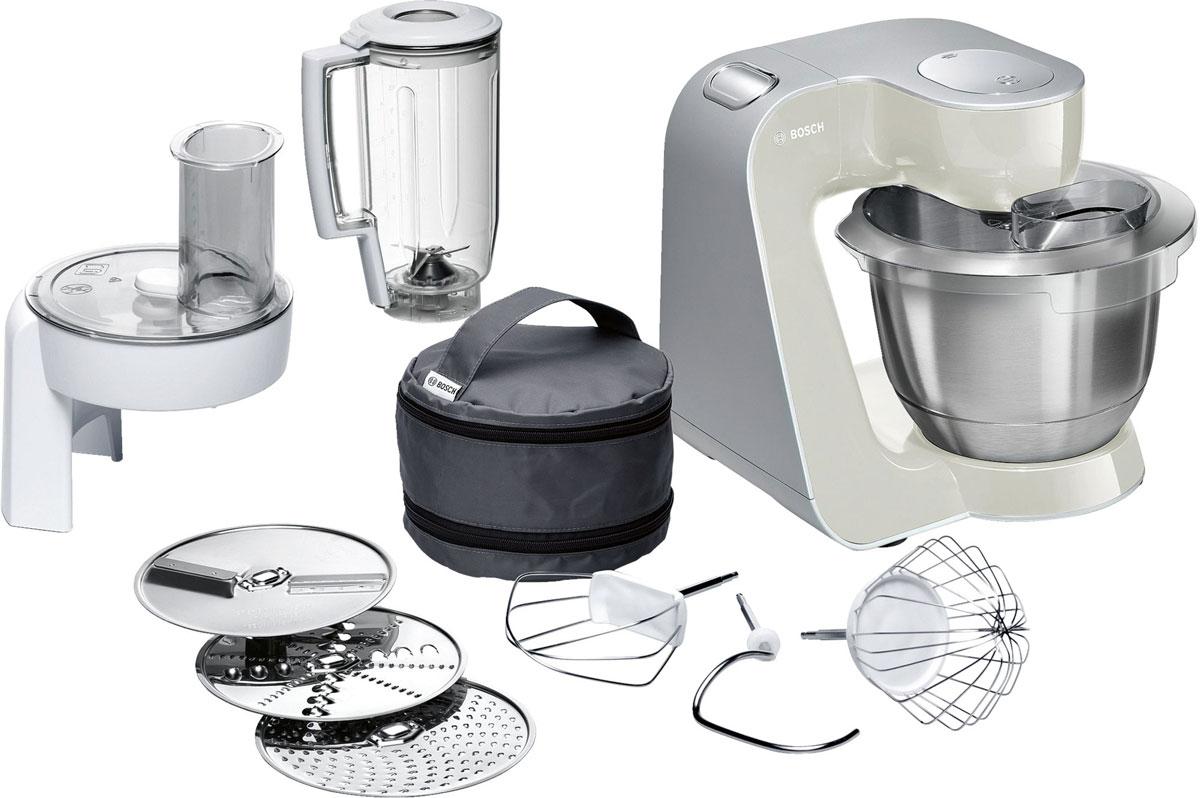 Bosch MUM58L20 кухонный комбайнMUM58L20Bosch MUM58L20 - мощная кухонная машина с многосторонними возможностями для готовки и выпечки.Данная модель легко обрабатывает большие количества ингредиентов (до 1 кг муки плюс ингредиенты) благодаря мощному мотору 1000 Вт.Отличное качество замеса теста благодаря особой форме внутренней поверхности чаши и благодаря планетарному вращению насадок в трех плоскостях 3D. Возможно замесить до 2,7 кг легкого теста/ 1,9 кг дрожжевого теста.Прибор просто и удобно использовать благодаря функции автоматического поднятия рычага EasyArmLift. Функция автопарковки упрощает процесс смены насадок.Особую многофункциональность обеспечивают высококачественные кондитерские насадки (венчик для взбивания, венчик для смешивания, насадка для замешивания теста) и долговечный измельчитель с тремя дисками для разных типов измельчения: измельчения, шинковки и нарезки и блендер.Прибор легко чистить благодаря гладкой поверхности. А насадки можно мыть в посудомоечной машине.