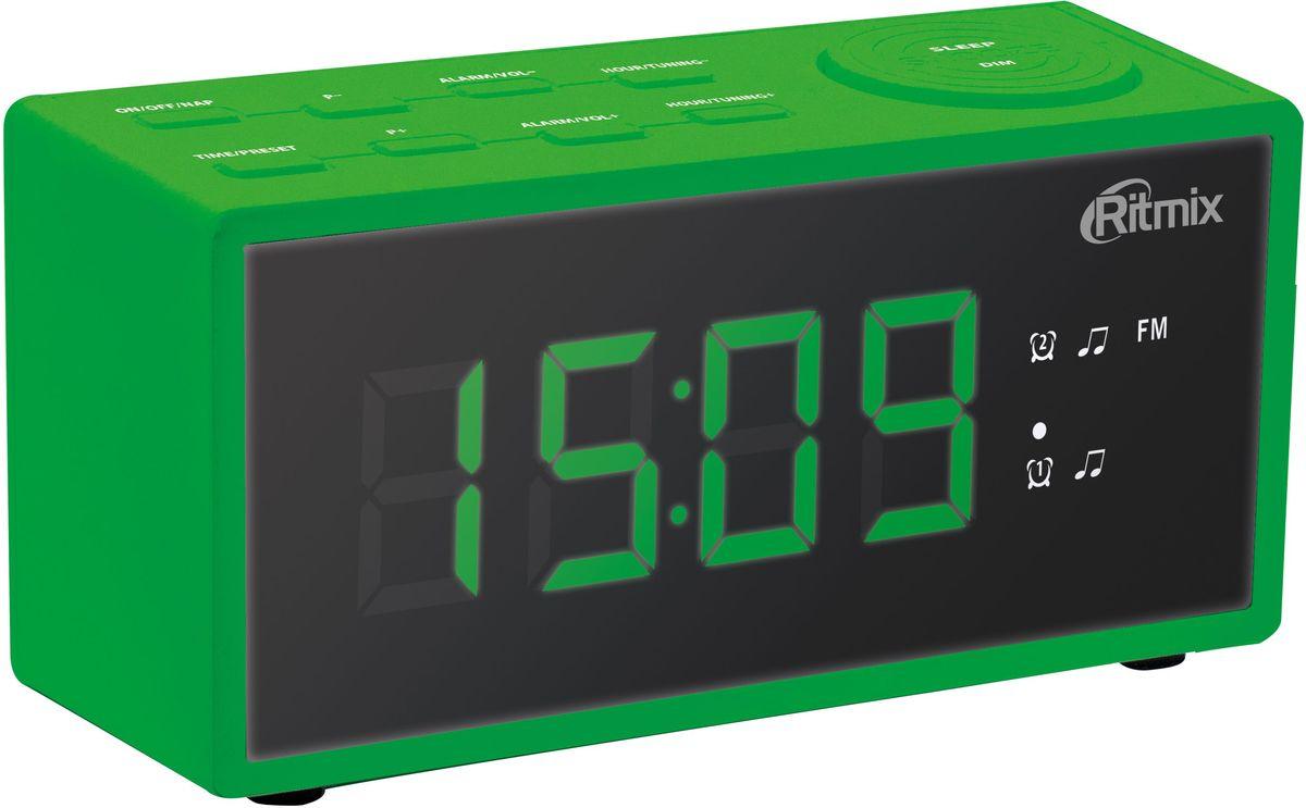 Ritmix RRC-1212, Green радио-будильник15118419Ritmix RRC-1212 - это компактные FM-радиочасы с функцией будильника. Встроенный дисплей имеет большие яркие цифры высотой 3 см. Модель удобна и проста в управлении и имеет множество полезных функций: несколько будильников с возможностью повтора, таймер выключения, настройка 20 радиостанций и регулировка подсветки.Длина кабеля: 1,4 м