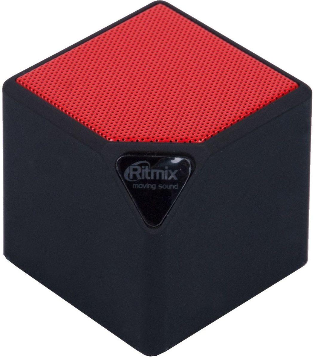 Ritmix SP-140B, Black Red портативная акустическая система15118767(BTH+TF+USB+AUX+FM) Портативная Bluetooth 2.0 миниколонка, встроенное FM радио, мощн 3 Вт, динамик 40мм,диапазон частот 160-20000 Гц, мр3-плеер(с micro SD/USB),линейн. вход AUX 3,5мм, Li-ion аккумулятор 300мАч, форма-кубик, цвет - черный с красным